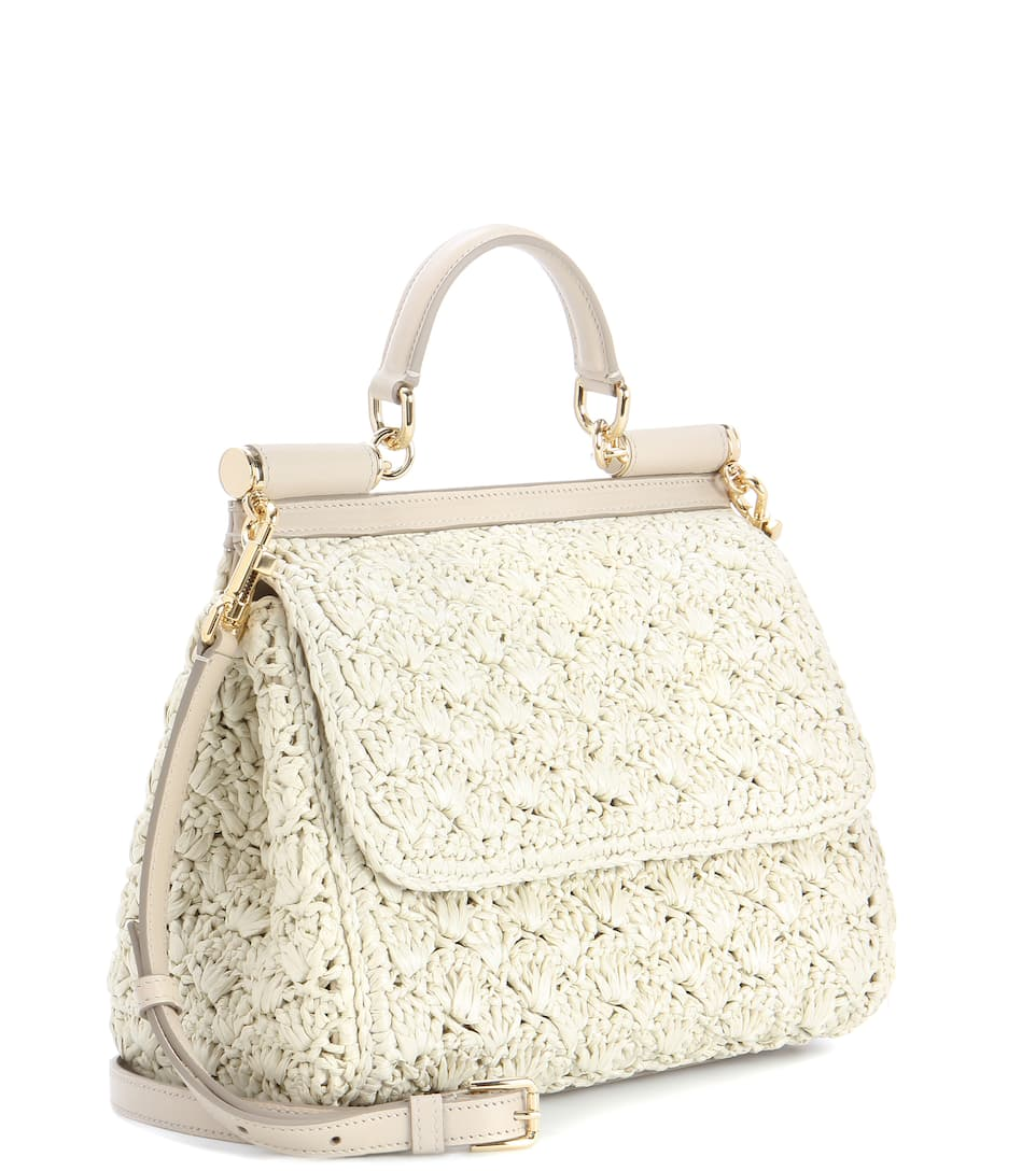 DOLCE & GABBANA Sicily Small Raffia Shoulder Bag in Ecru
