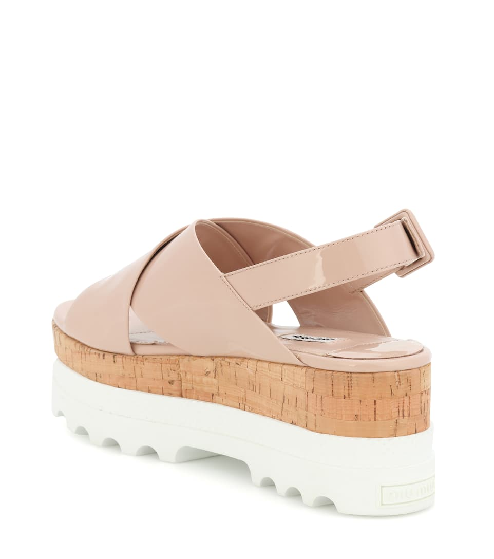 Miu Miu Plateau Sandals Made Of Patent Leather