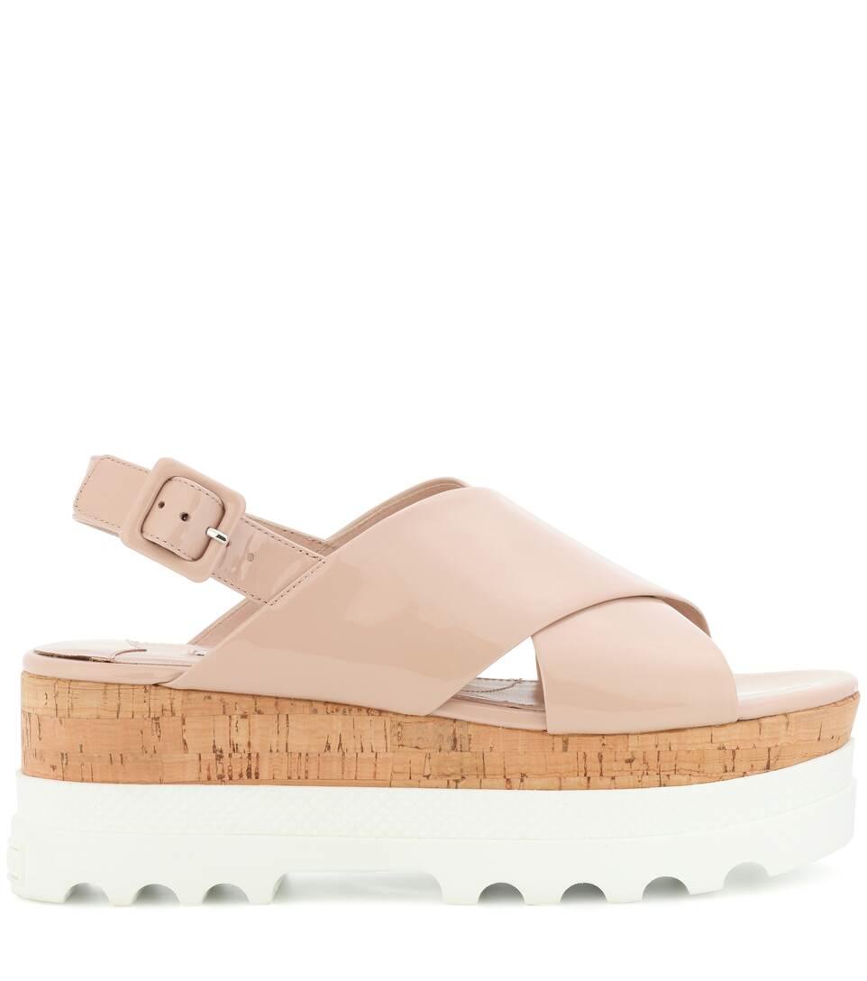 Miu Miu Plateau Sandals Made Of Patent Leather