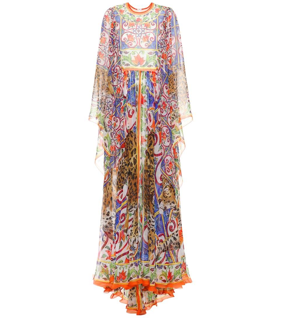 Dolce & Gabbana - Robe longue en soie imprimée