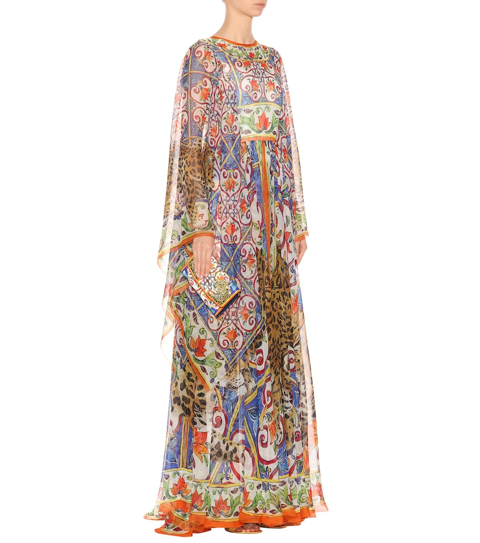 Dolce & Gabbana Printed Maxi Dress In Silk Mousseline