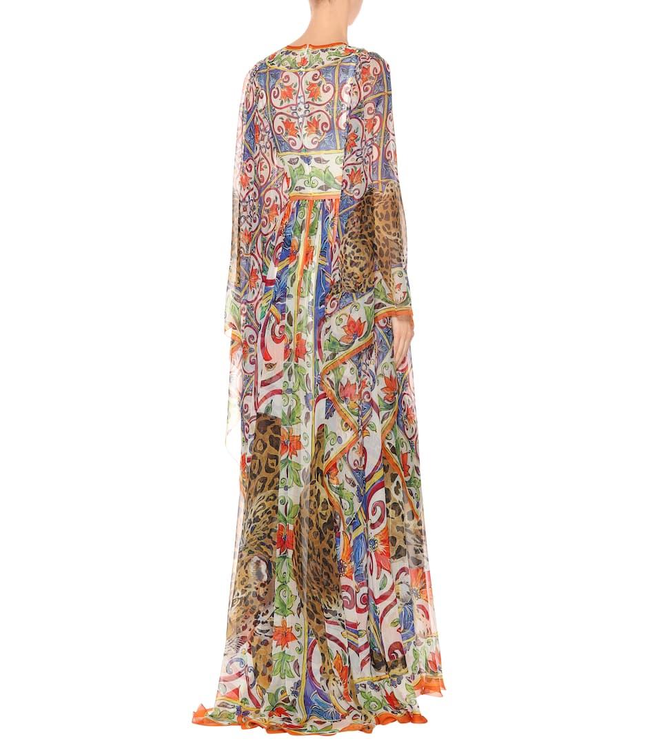 Dolce & Gabbana Bedrucktes Maxikleid aus Seidenchiffon