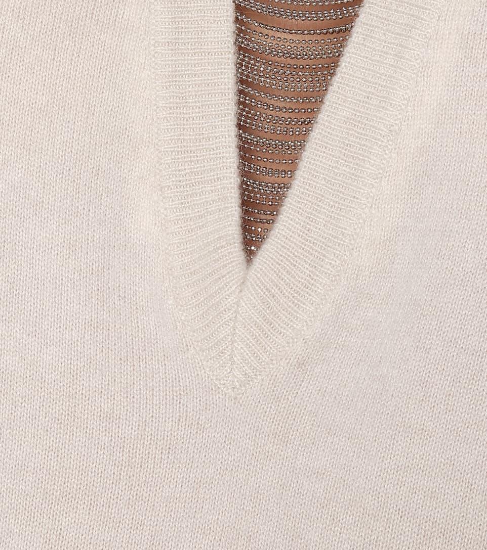 Embellished Cashmere V-Neck Sweater   Brunello Cucinelli - Mytheresa
