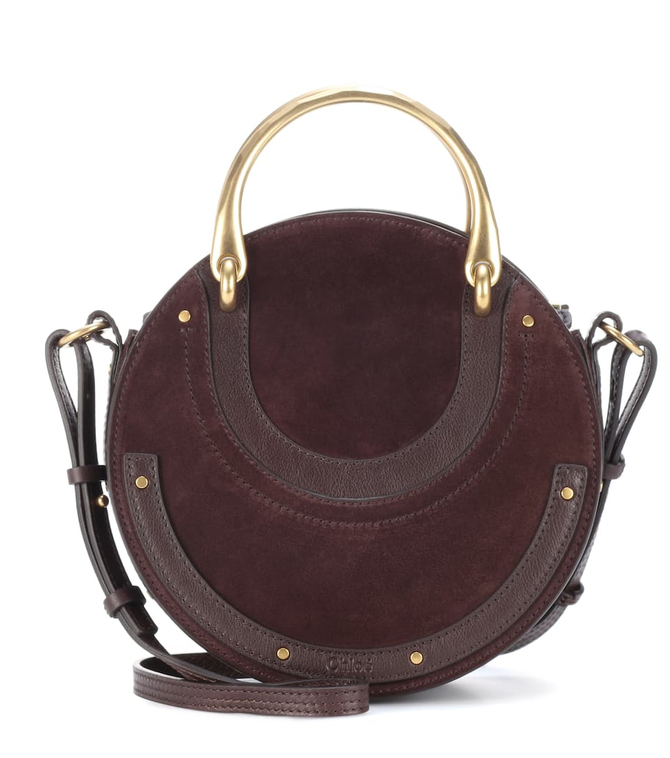 PIXIE LEATHER AND SUEDE SHOULDER BAG