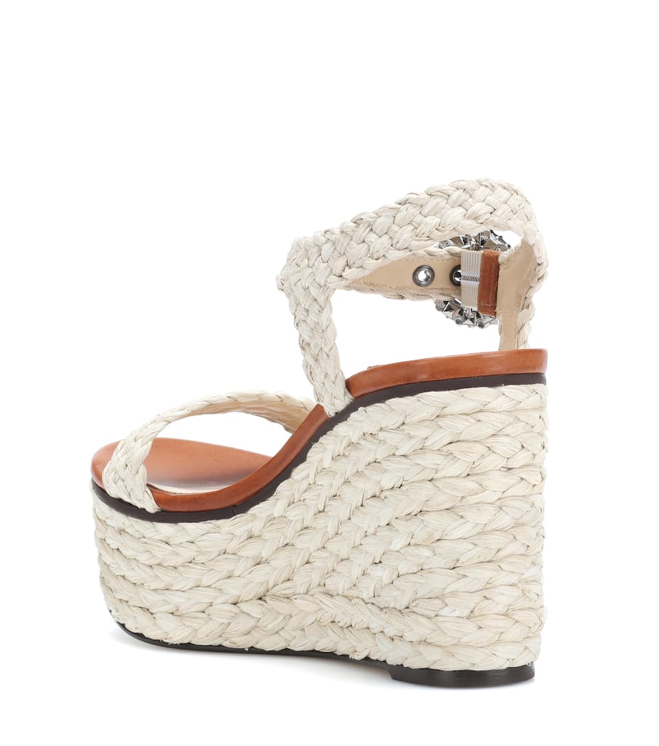23bbcca28a5 JIMMY CHOO Nylah 100 Natural Raffia Wedge Sandals With Crystal Buckle
