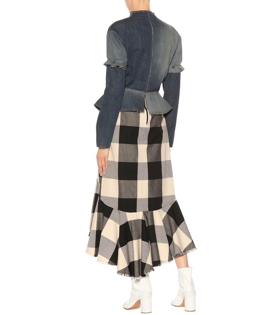 Loewe Denim Jacket With Peplum And Leather Trim