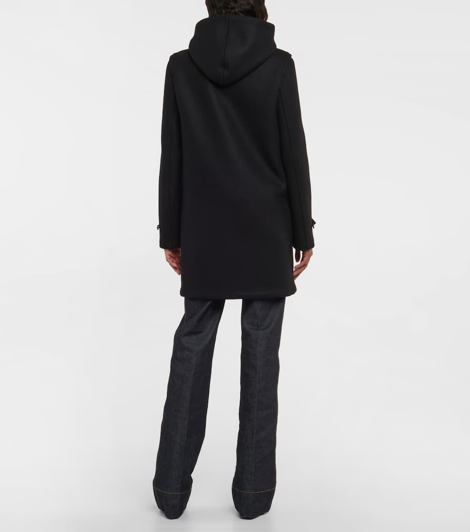 Saint Laurent Hooded wool toggle coat Black Clearance Outlet Store En6aMQOF