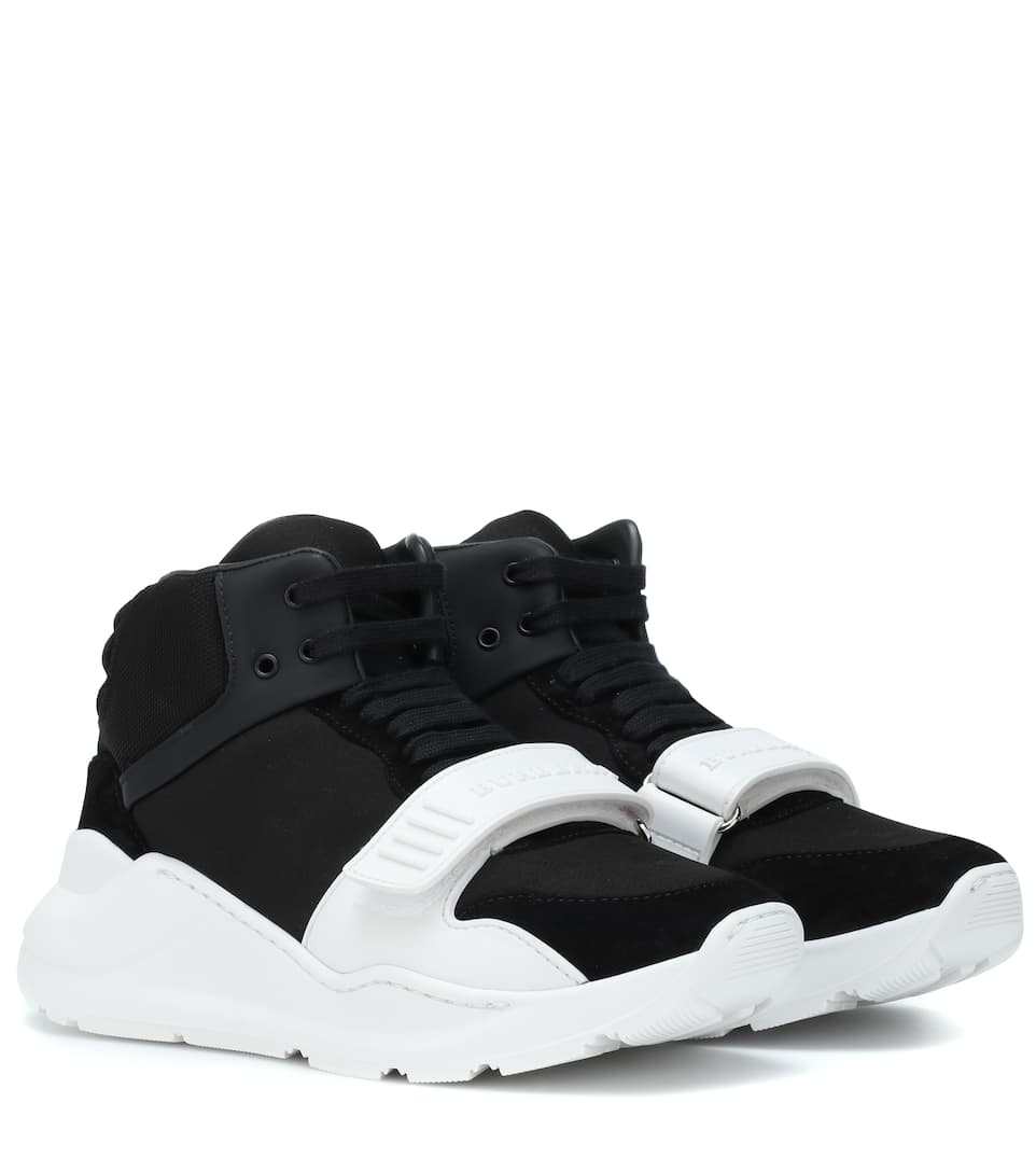 Suede And Neoprene Sneakers by Burberry