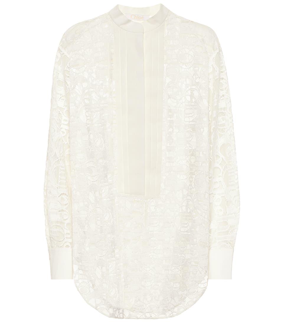 5192a1fc Logo Cotton-Blend Lace Shirt - Chloé | Mytheresa