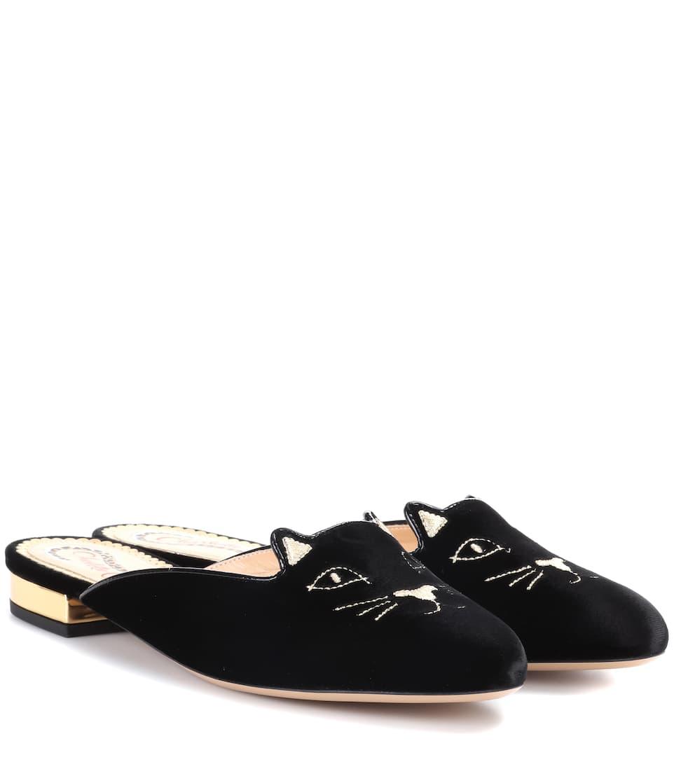 Charlotte Olympia Samt-Slippers Kitty Flat