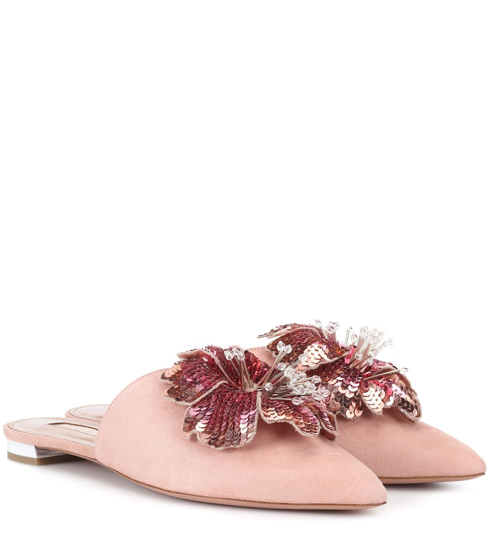 Aquazzura Disco Flower suede slippers cheap sale limited edition 2015 cheap price wide range of cheap price free shipping pay with paypal 9WeOlOD