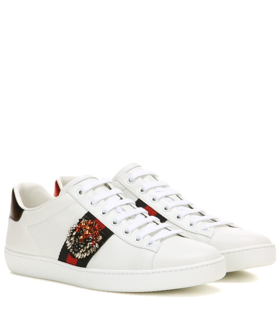 ace embellished leather sneakers gucci mytheresa. Black Bedroom Furniture Sets. Home Design Ideas