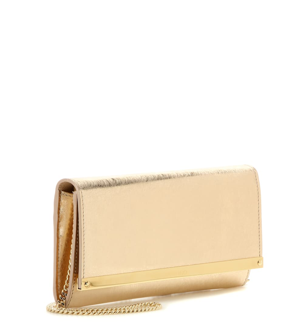 Jimmy Choo Clutch Milla aus Metallic-Leder
