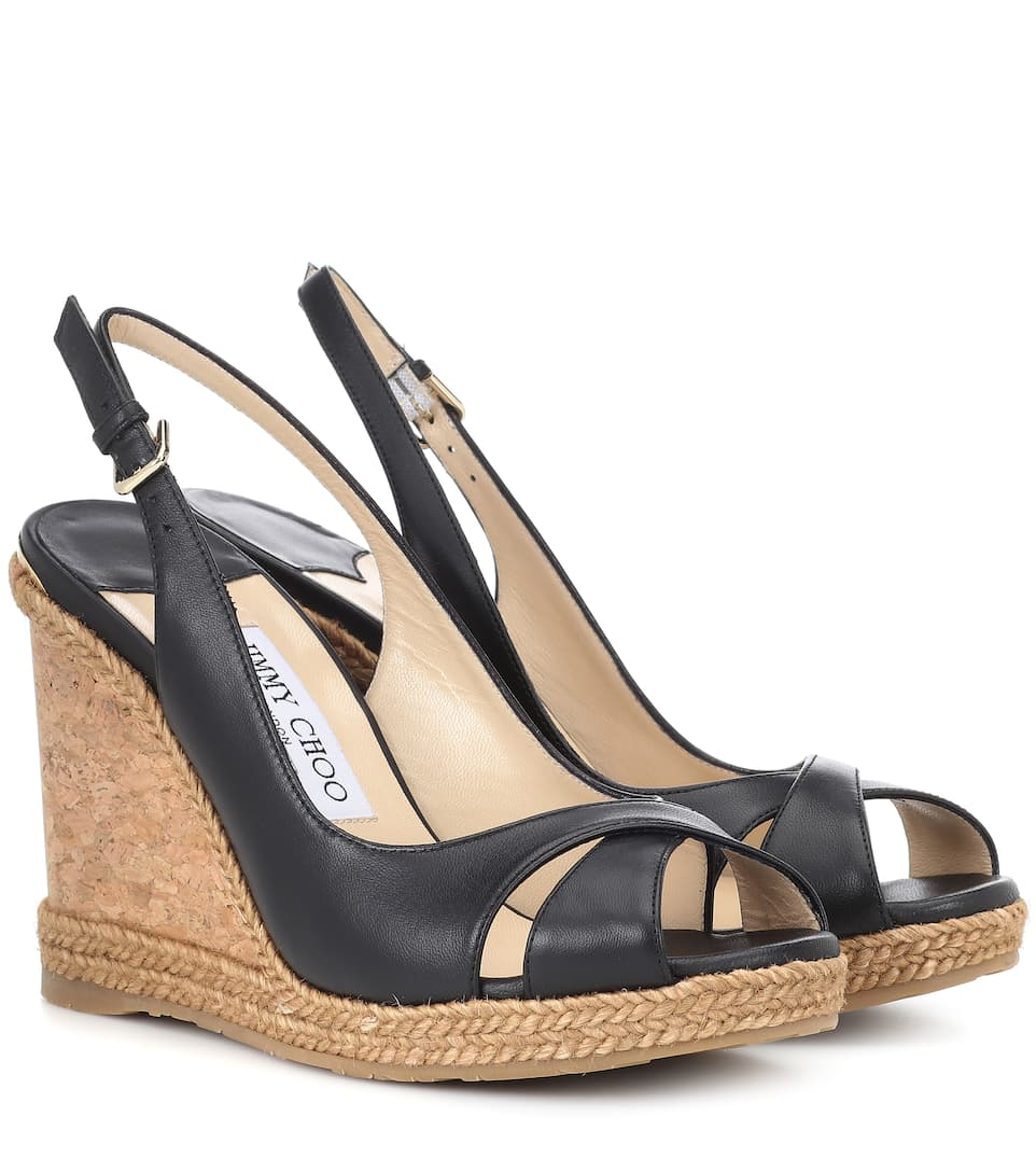 Amely 105Mm Leather Cork Wedge Sandals in Black