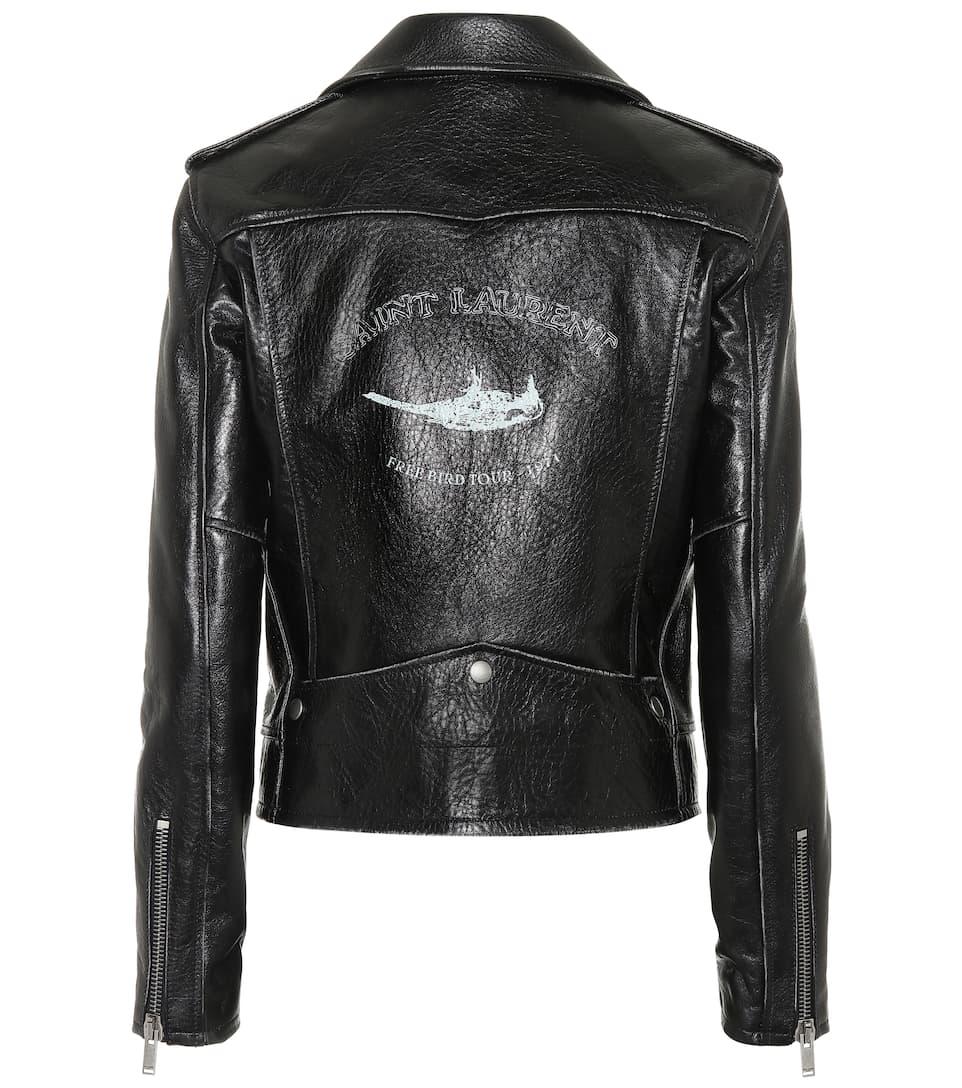 Saint Laurent Bird printed leather jacket