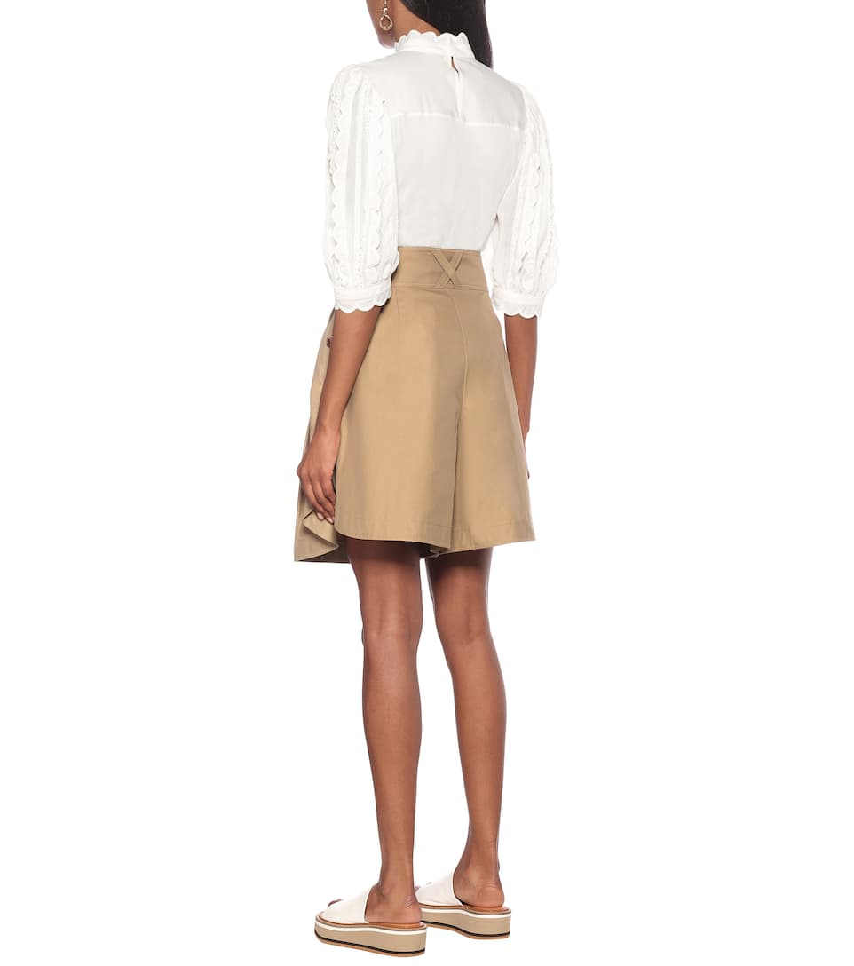 See By Chloé - High-rise wide-leg cotton shorts