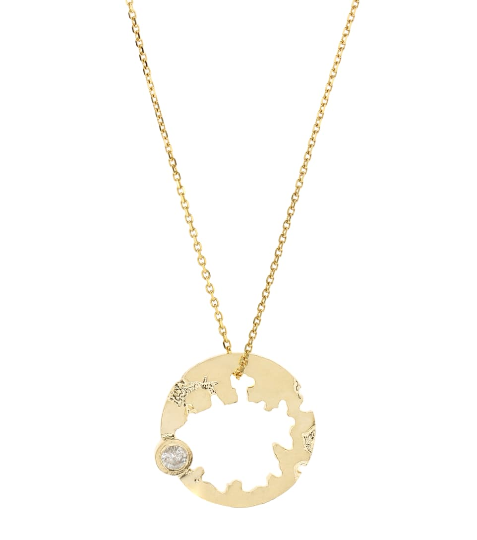 Wasson Moon 14kt gold necklace with diamonds zhZbN