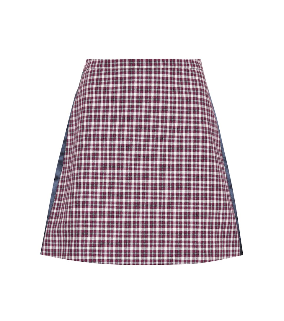 Satin-Trimmed Checked Cotton-Blend Mini Skirt, Female