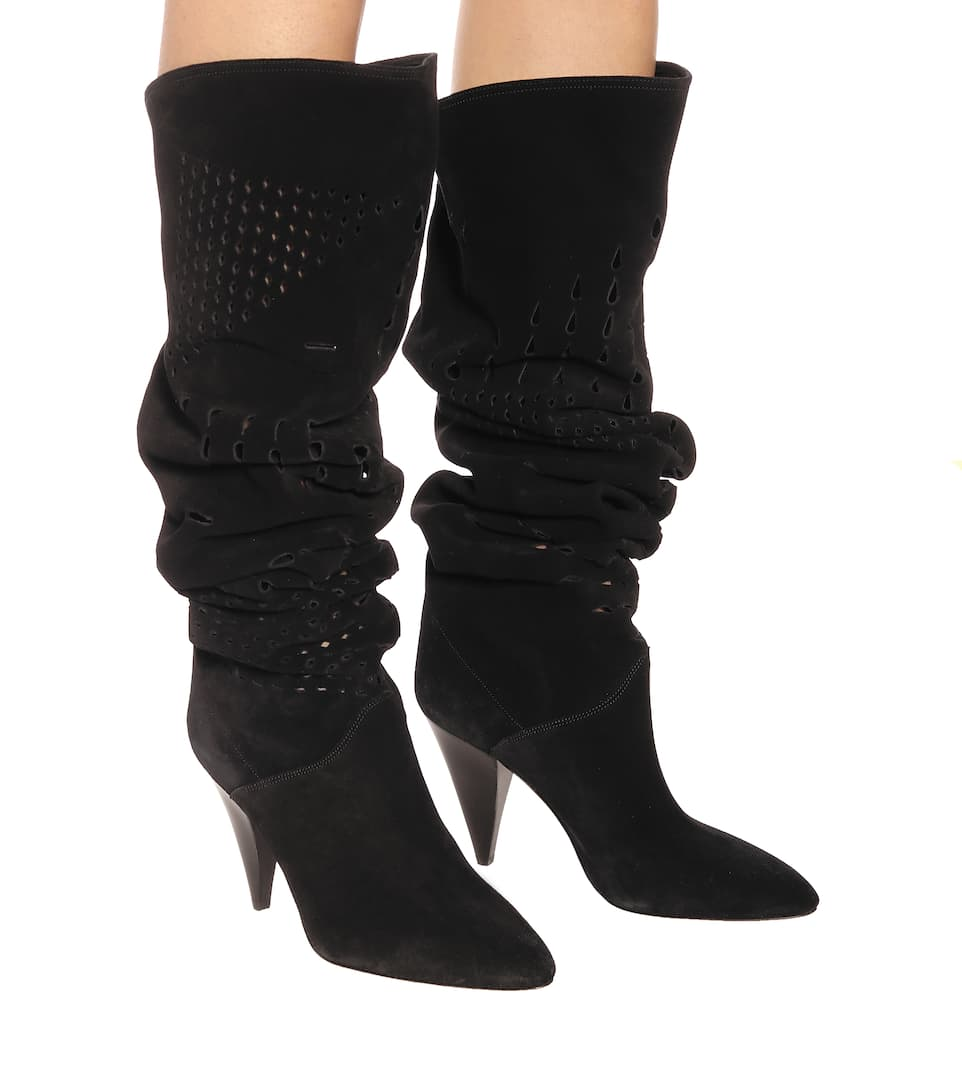 df2a5a436f8 Isabel Marant Lyde Suede Over-The-Knee Boots In 01Bk Black