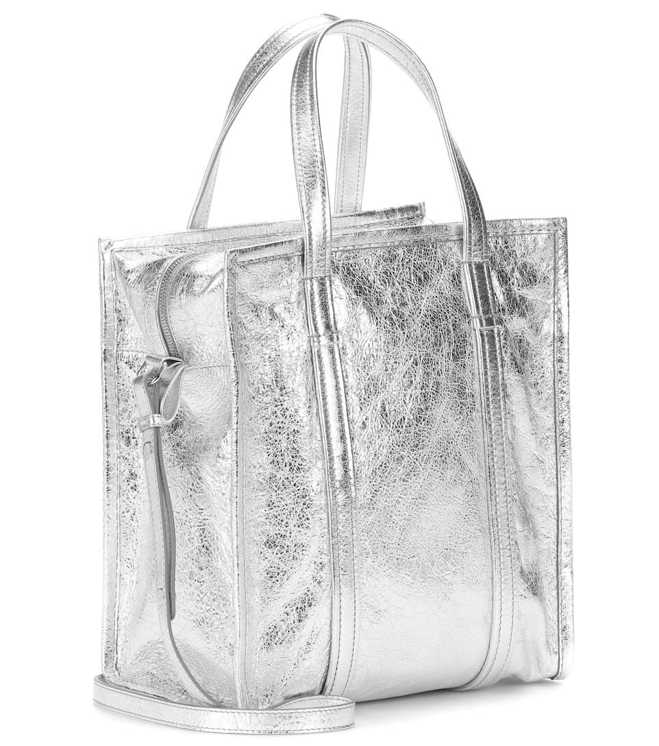 S shopper Bazar Balenciaga Argent cuero 1BSnwxF