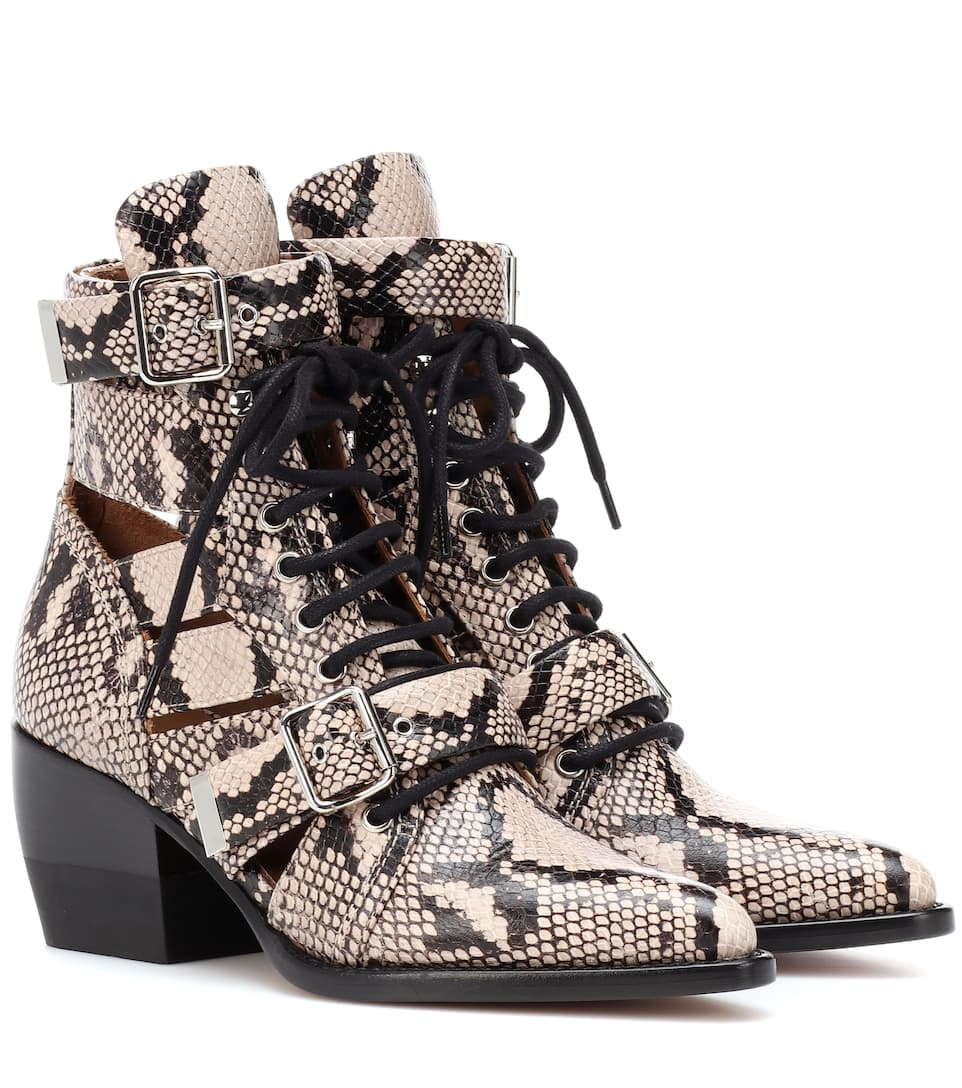 820c5d03d91b5 Rylee Snake-Embossed Leather Ankle Boots - Chloé
