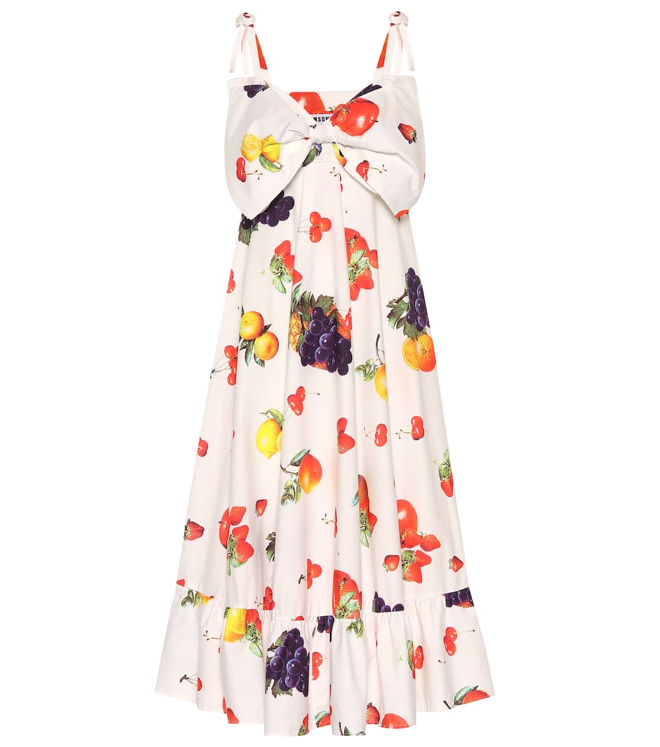 Msgm Flared Bow-embellished Printed Cotton-poplin Midi Dress In Multicoloured