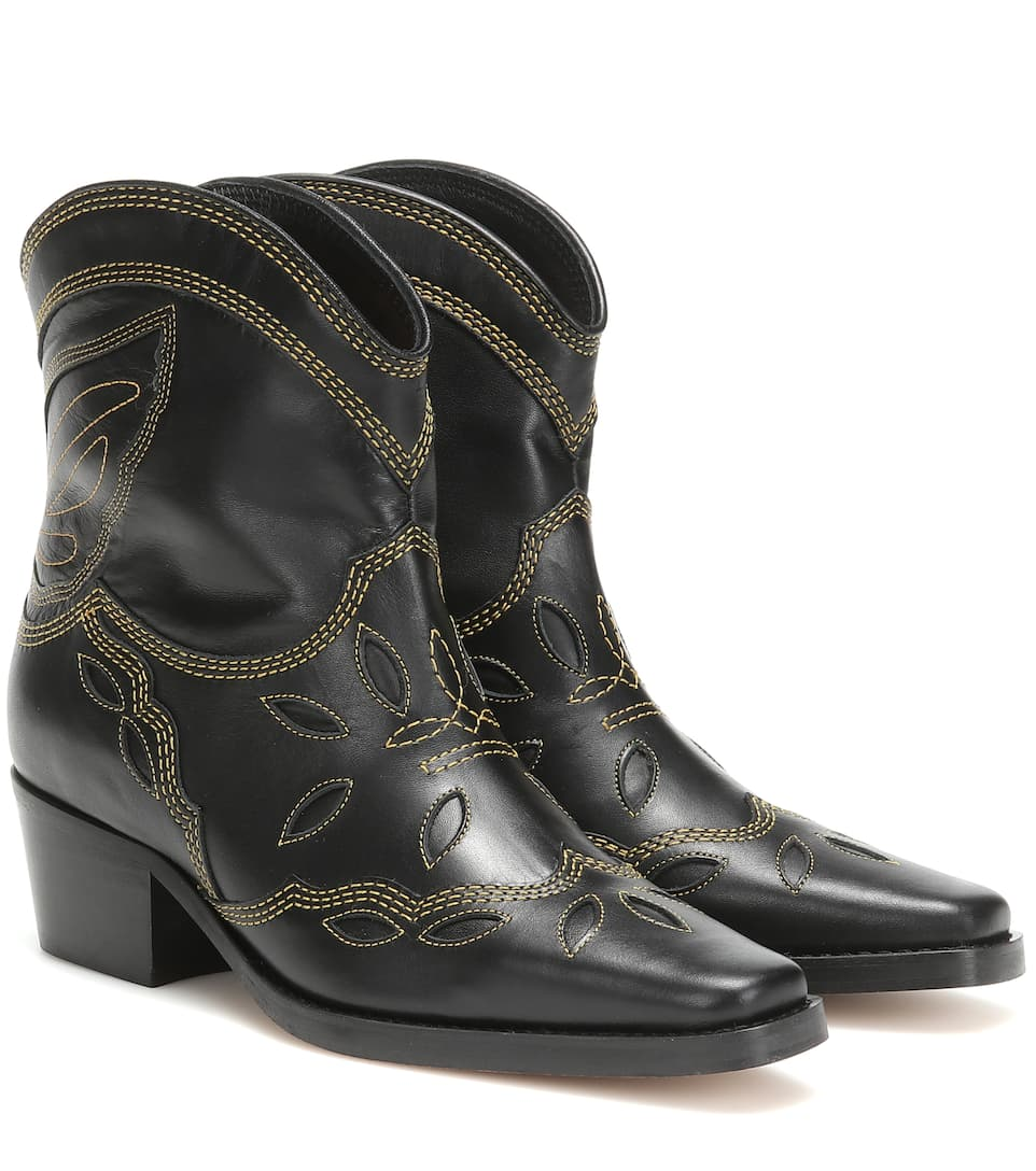 Low Texas Leather Cowboy Boots   Ganni