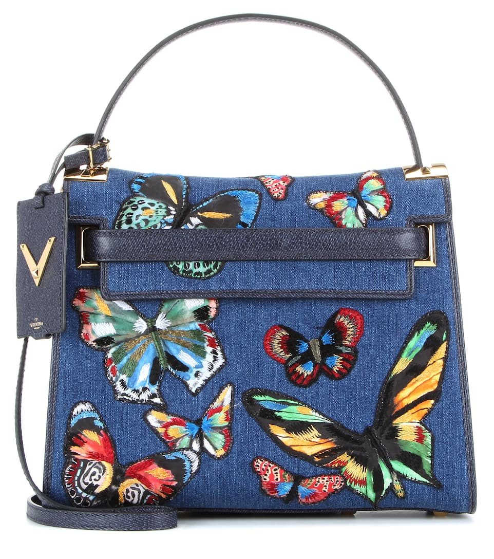 Valentino My Rockstud appliqué denim shoulder bag