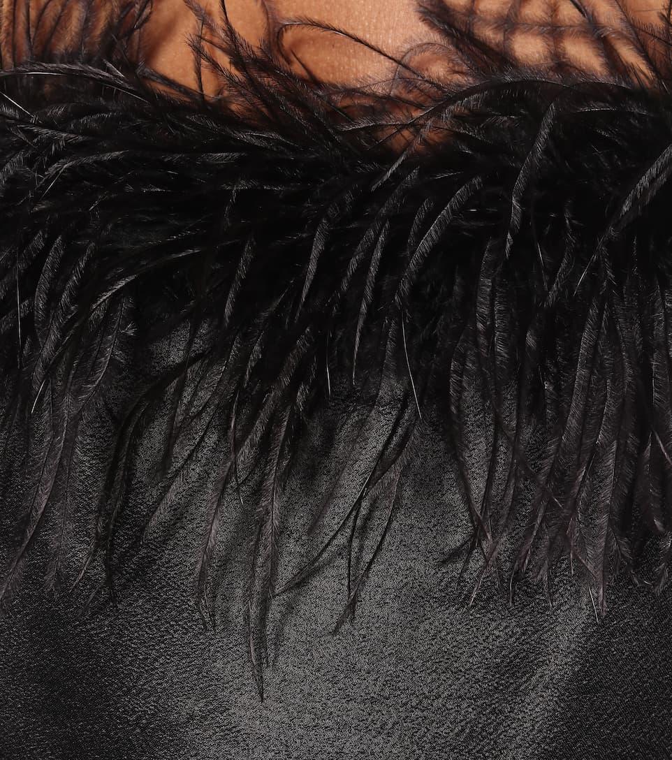 Veronica Beard - Feather-trimmed crêpe top