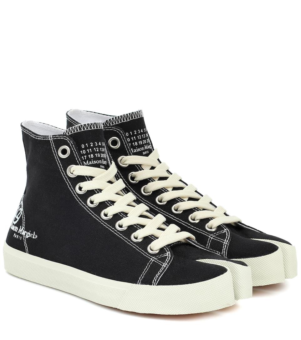 Maison Margiela Tabi Canvas High-top Sneakers In T8013 Black