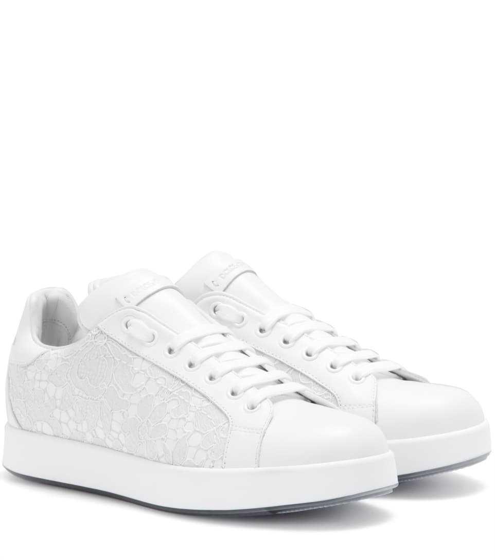 Dolce & Gabbana Leather and lace sneakers