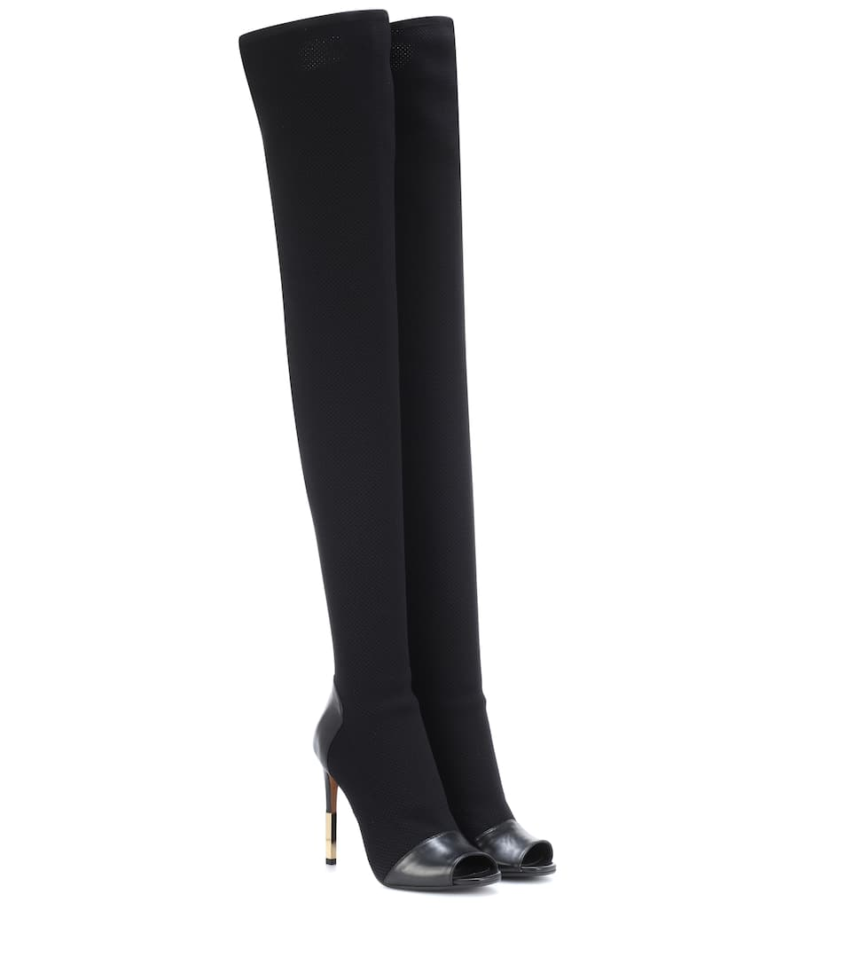 Balmain Suedes OVER-THE-KNEE PEEP-TOE BOOTS