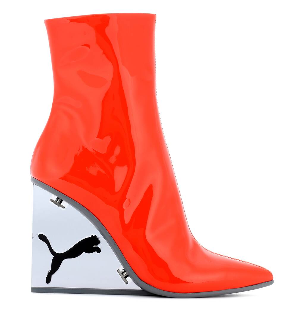 Designer Sale Pay With Visa Fenty by Rihanna Patent leather ankle boots Flame/Puma Black Cheap Official Cheap Price Get Authentic For Sale slpReIID