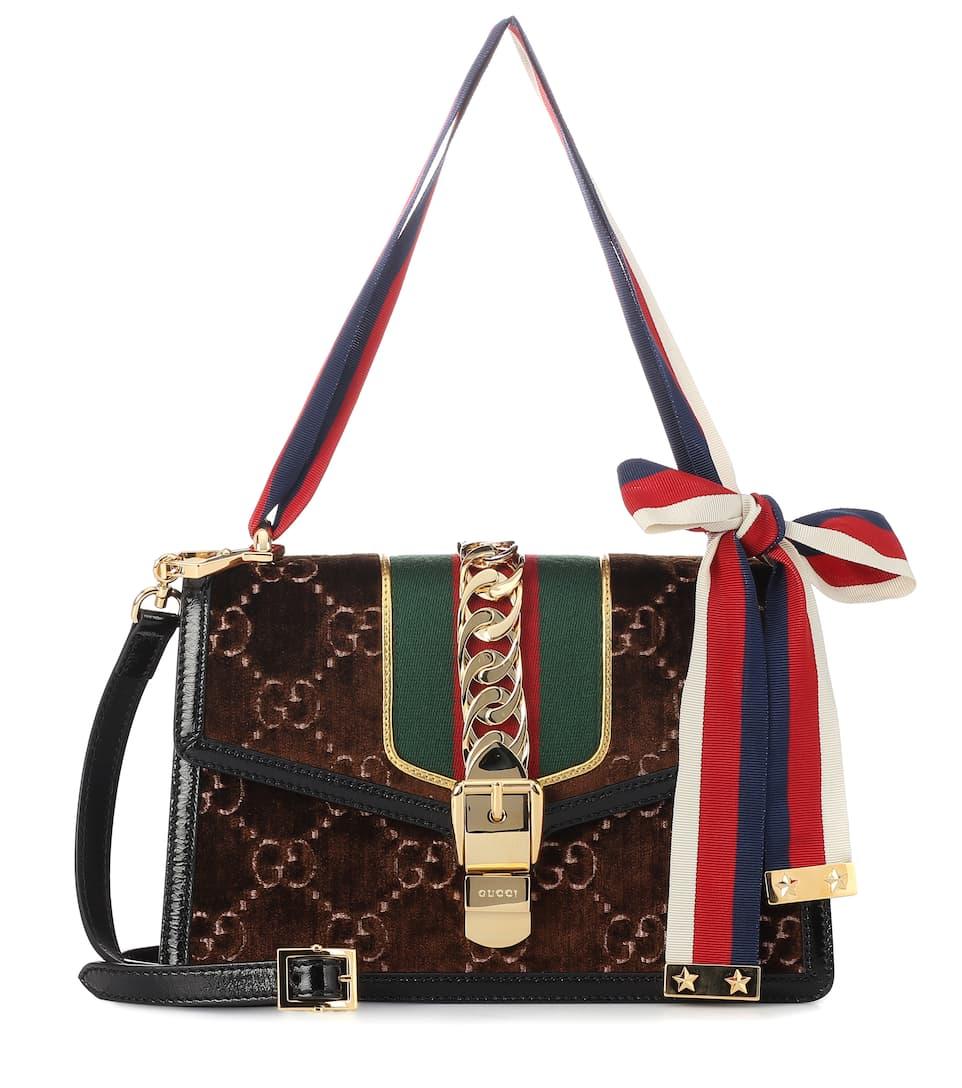 f05d732d15ca Sylvie Gg Small Velvet Shoulder Bag - Gucci