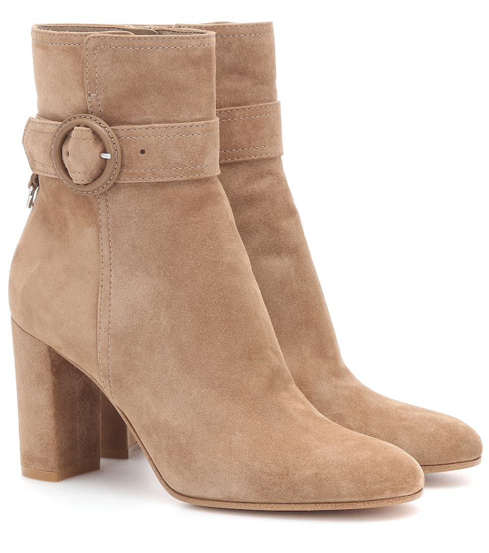 Leyton 85 Suede Ankle Boots by Gianvito Rossi