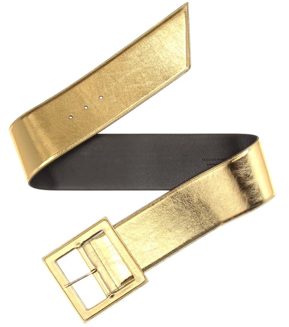 laurent metallic leather belt mytheresa