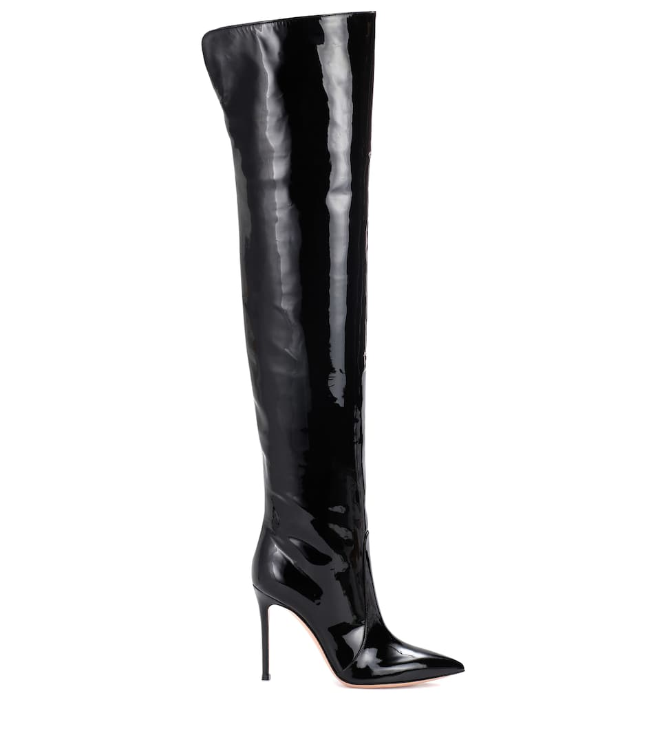 Gianvito Rossi Overlay Boots Rennes Of Patent Leather