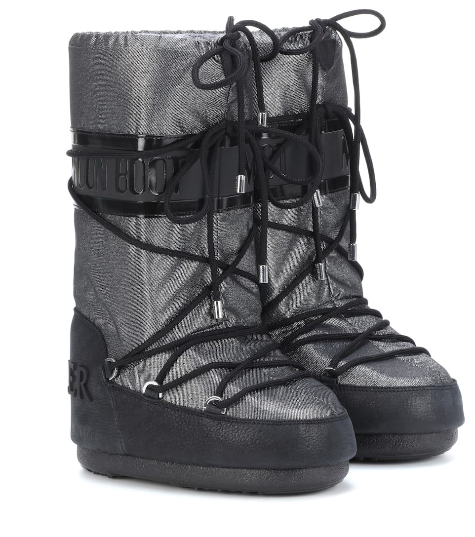 + Moon Boot Saturne Metallic Shell And Nubuck Snow Boots, Metallic Silver