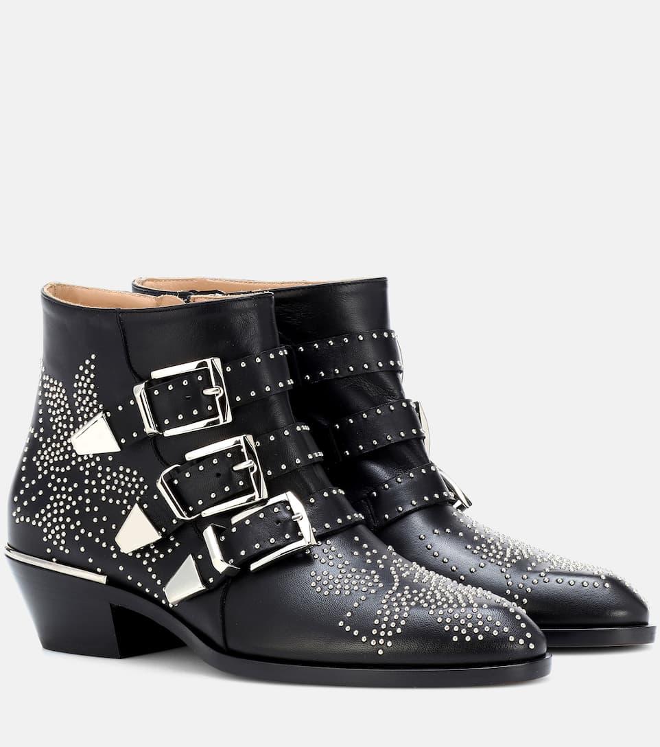 bb94847bd41c4 Susanna Studded Leather Ankle Boots - Chloé