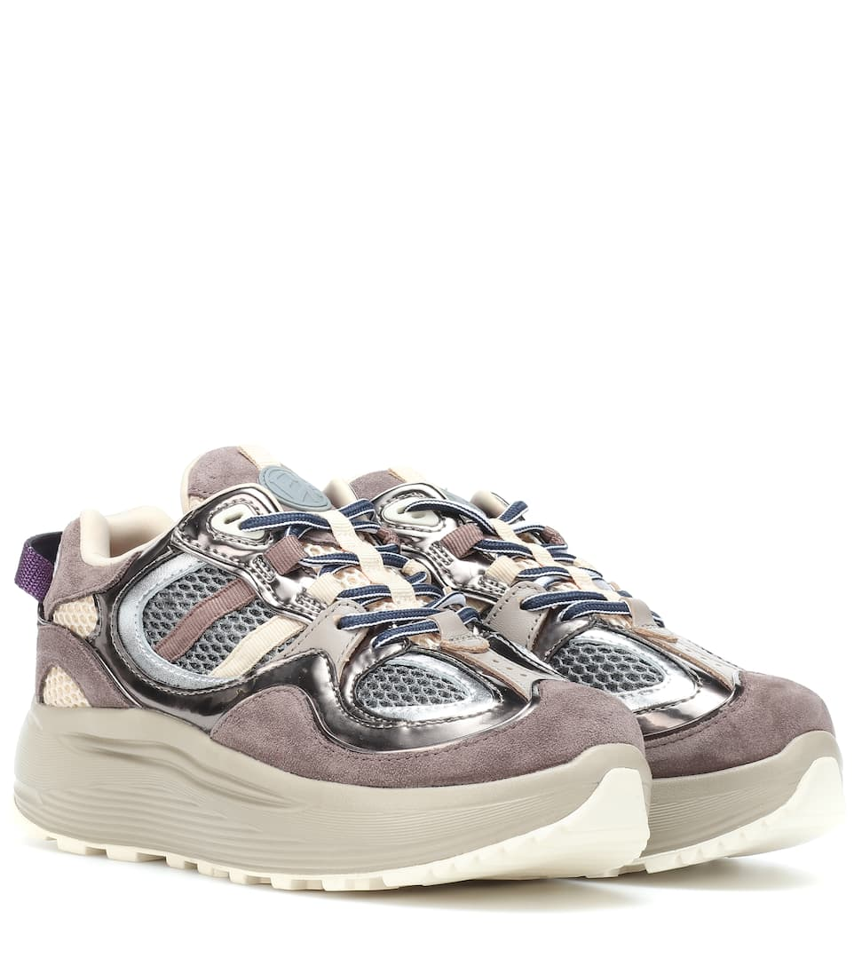 EYTYS Pink, Grey And Beige Turbo Suede Leather And Mesh Sneakers in Neutrals