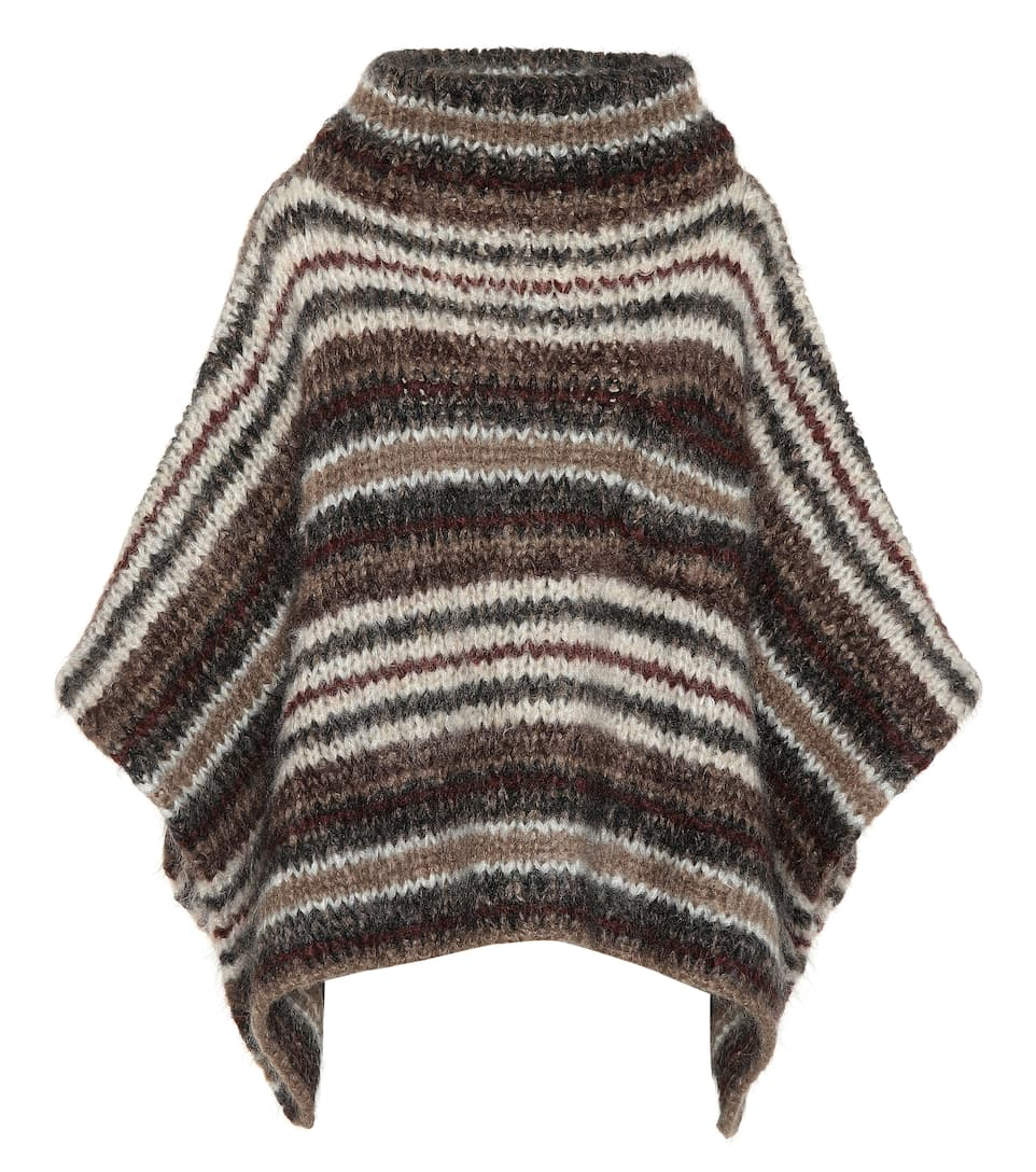 Best Wholesale Cheap Price Cheap Sale Websites Brunello Cucinelli Striped mohair-blend poncho Brown Multicolor Clearance Online Fake Sale Cheap Prices 2oFc0