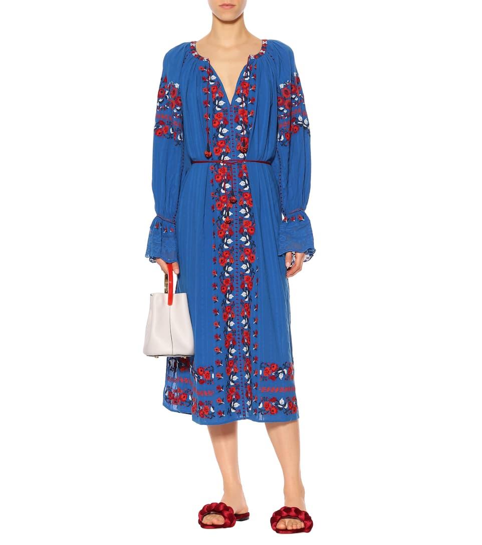 Ulla Johnson Robe Midi En Coton Brodé Filia