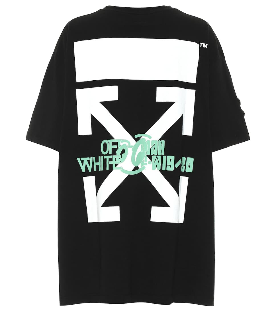 Imprimé Oversize En Coton Off shirt Waterfall T white TJ3lKcF1