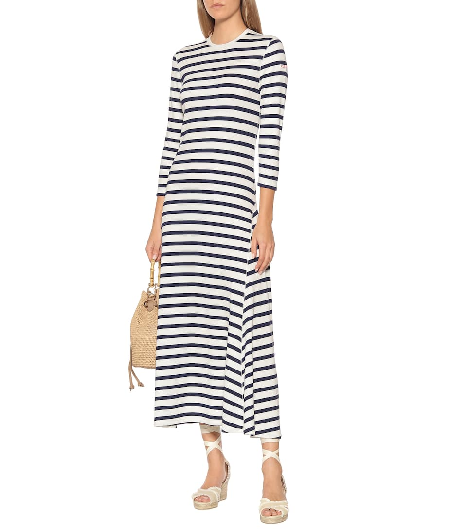 Striped Cotton And Modal Midi Dress Polo Ralph Lauren