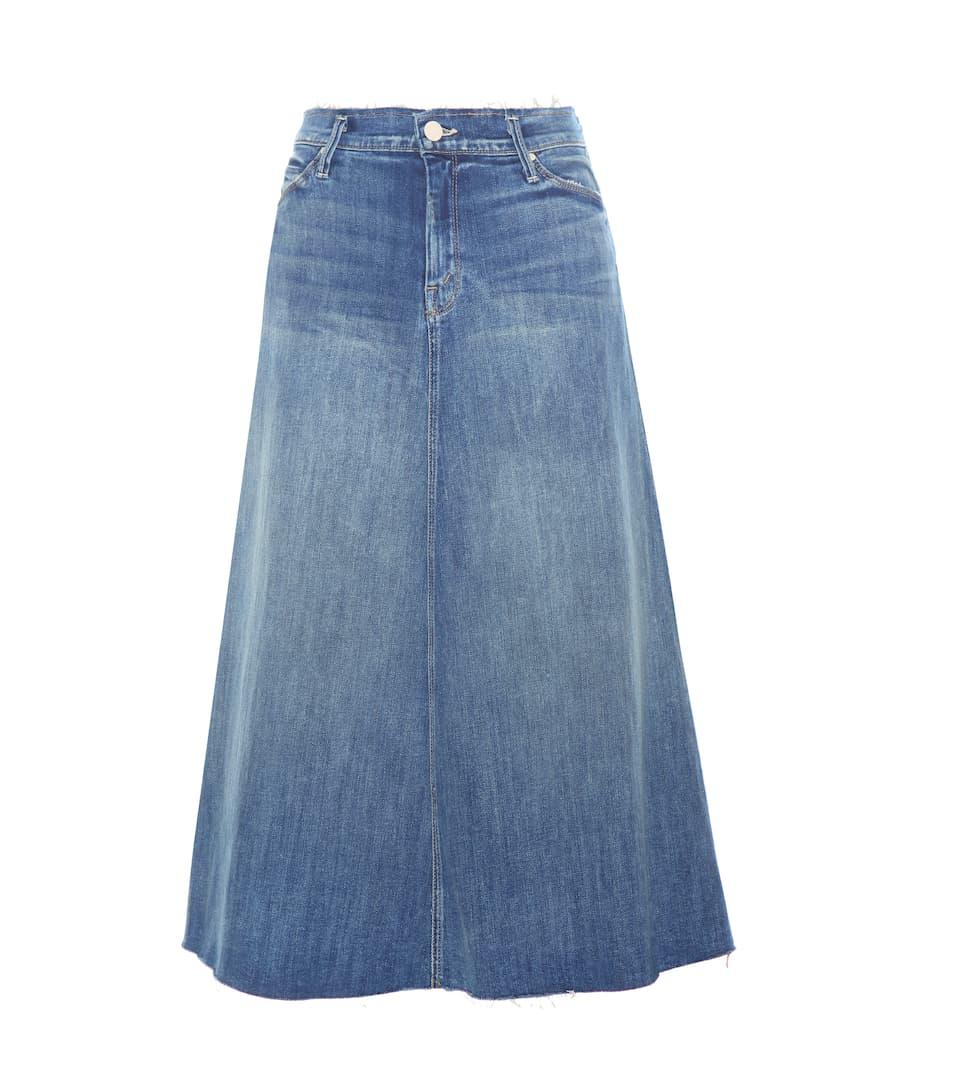 Mother Double Fray Circle denim skirt