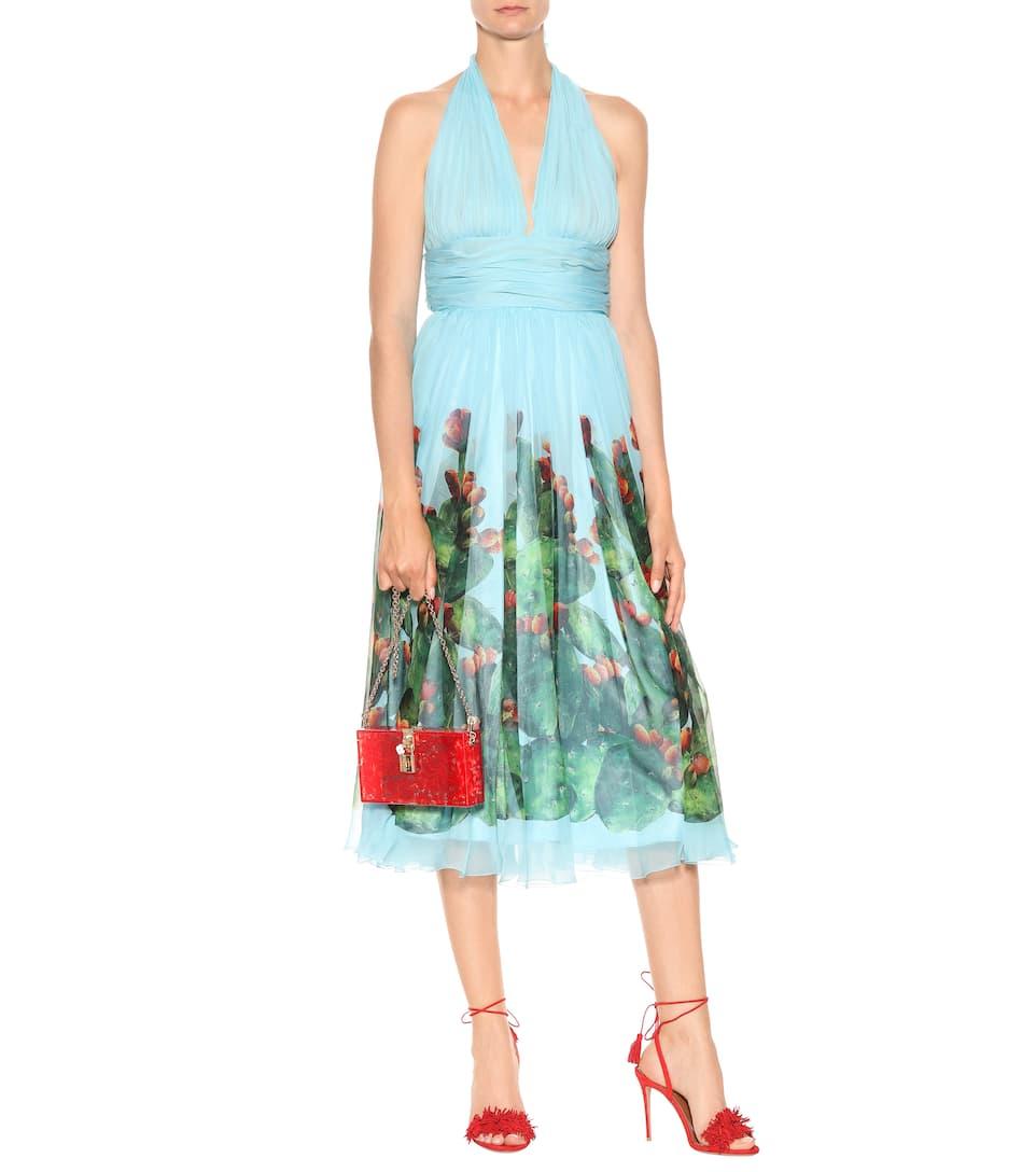 para vestido Azzuro mytheresa com dress Fondo seda D'India Gabbana Exclusivo amp; de Fichi amp; estampado Dolce Ya8qIZn