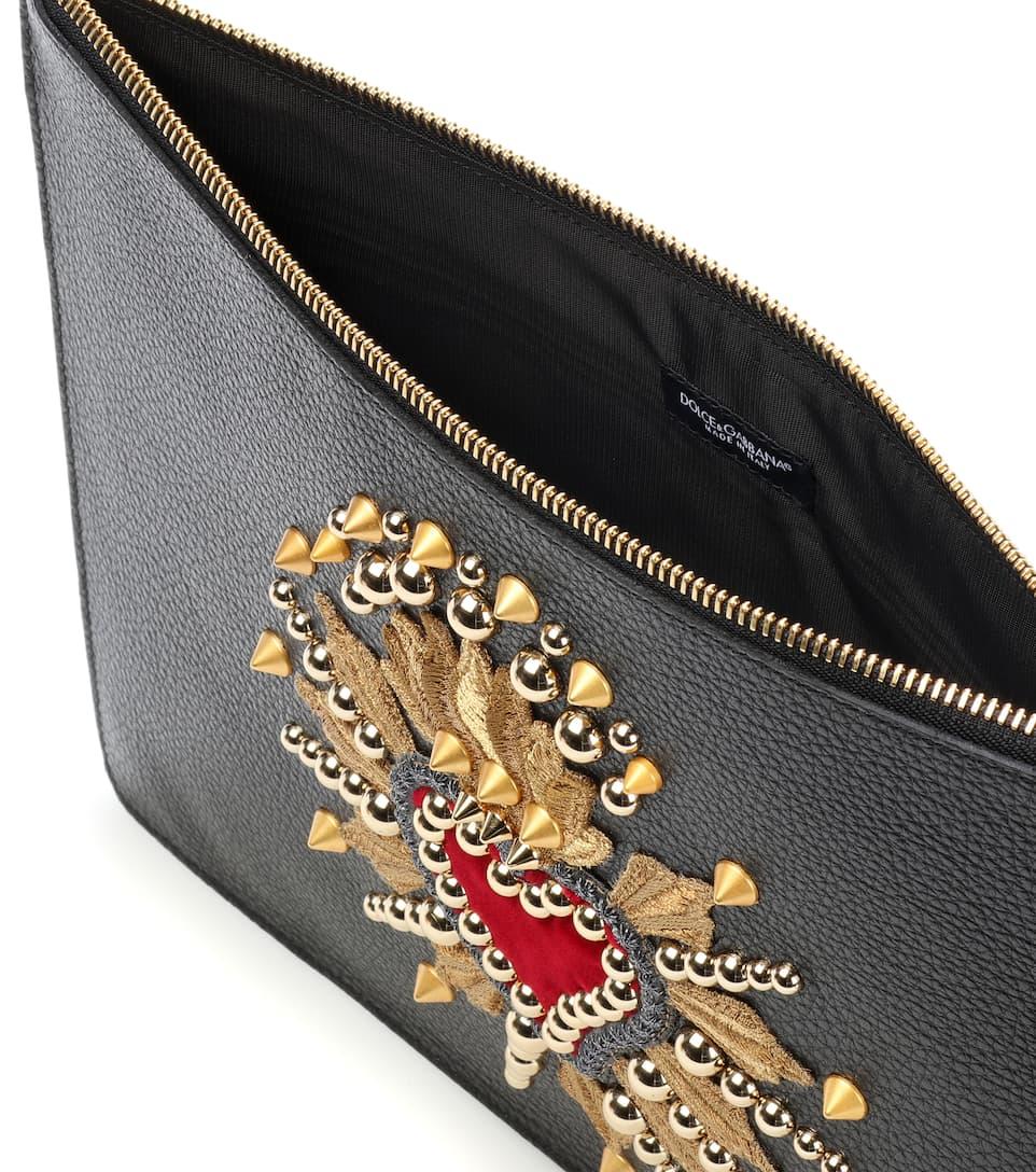 bolsa amp; Dolce embellece Gabbana amp; la cuero Nero de qzqp6