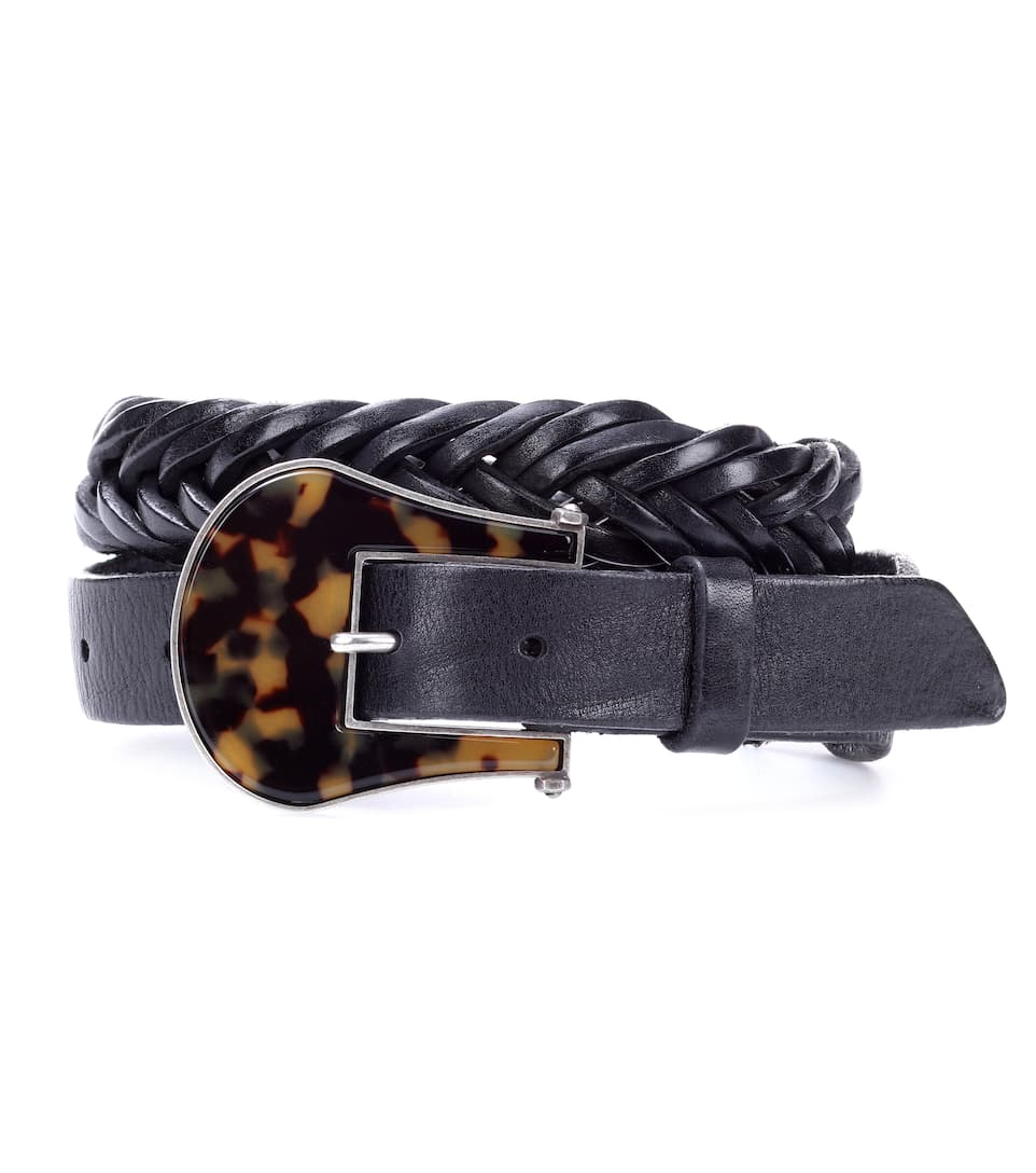 Tube Braided Leather Belt in Black