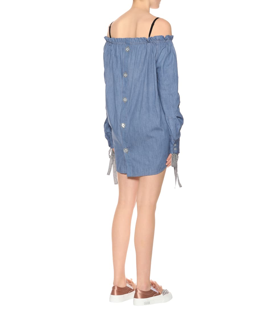 Miu Miu Off-Shoulder-Kleid aus Denim