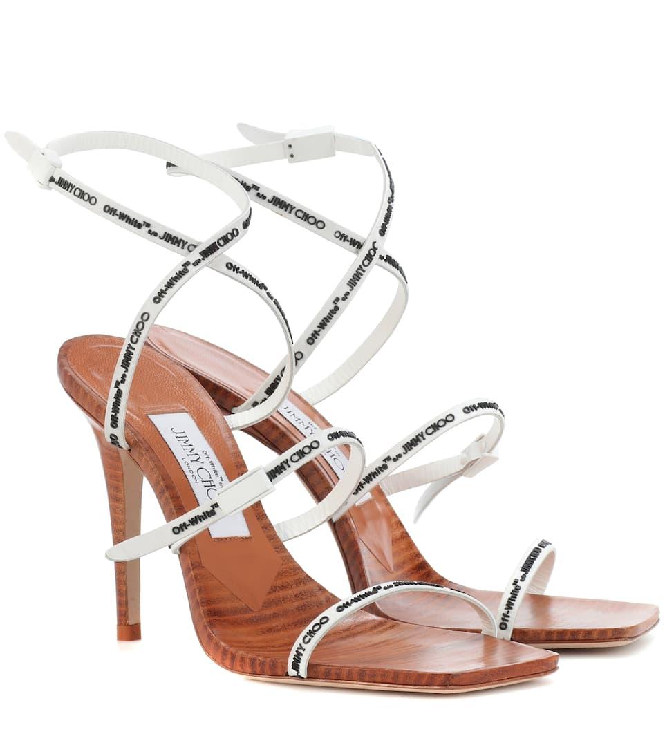 Sandales En Cuir Et Caoutchouc Jane 100 X Off-White - Jimmy Choo Jeu Confortable Sneakernews Vente En Ligne 0GWfcnNUz